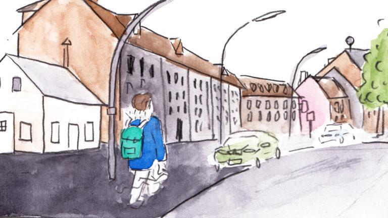Spaziergänger auf der Straße